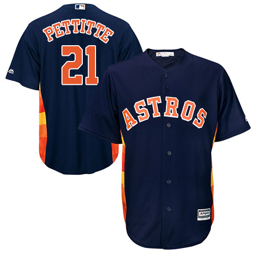 Men's Majestic Houston Astros #21 Andy Pettitte Replica Navy Blue Alternate Cool Base MLB Jersey