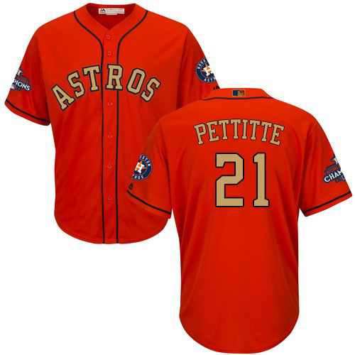 Men's Majestic Houston Astros #21 Andy Pettitte Replica Orange Alternate 2018 Gold Program Cool Base MLB Jersey