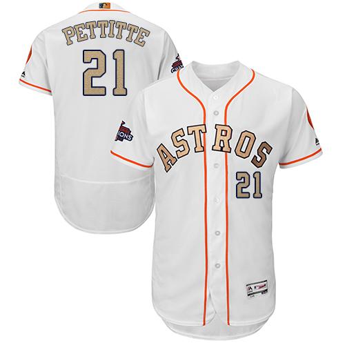 Men's Majestic Houston Astros #21 Andy Pettitte White 2018 Gold Program Flex Base Authentic Collection MLB Jersey