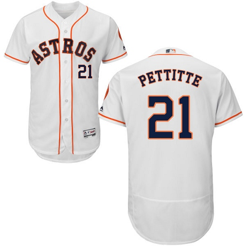 Men's Majestic Houston Astros #21 Andy Pettitte White Home Flex Base Authentic Collection MLB Jersey