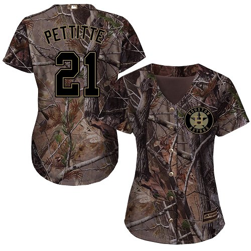 Women's Majestic Houston Astros #21 Andy Pettitte Authentic Camo Realtree Collection Flex Base MLB Jersey
