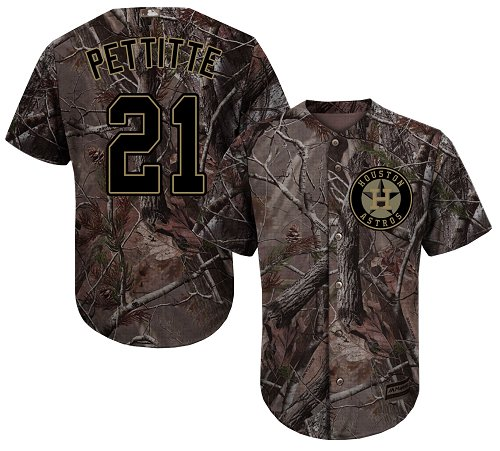 Youth Majestic Houston Astros #21 Andy Pettitte Authentic Camo Realtree Collection Flex Base MLB Jersey