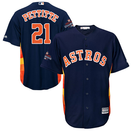 Youth Majestic Houston Astros #21 Andy Pettitte Authentic Navy Blue Alternate 2017 World Series Champions Cool Base MLB Jersey