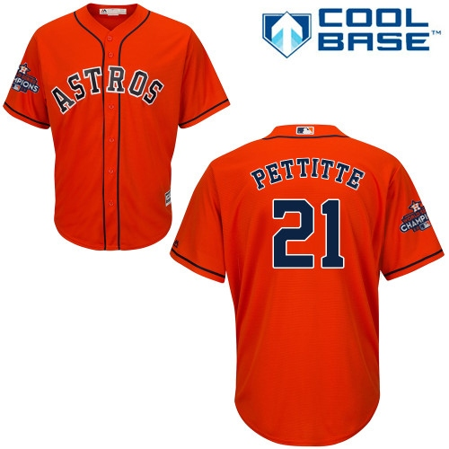Youth Majestic Houston Astros #21 Andy Pettitte Replica Orange Alternate 2017 World Series Champions Cool Base MLB Jersey
