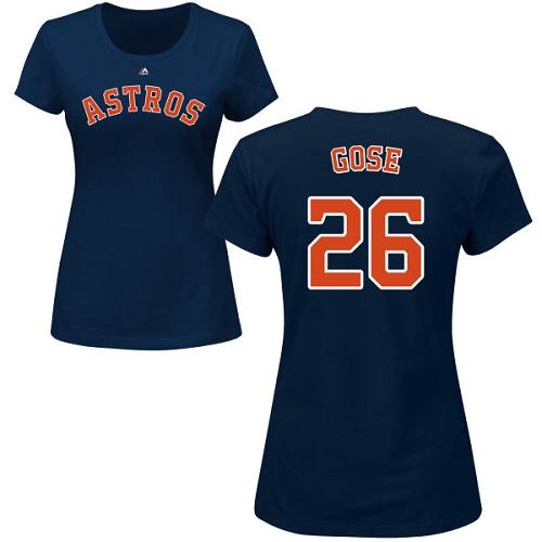 MLB Women's Nike Houston Astros #26 Anthony Gose Navy Blue Name & Number T-Shirt