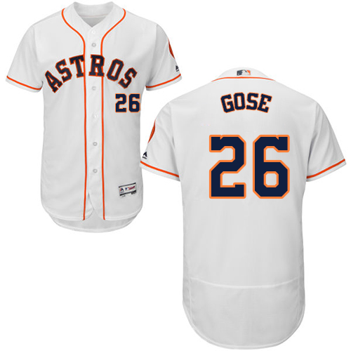 Men's Majestic Houston Astros #26 Anthony Gose White Home Flex Base Authentic Collection MLB Jersey
