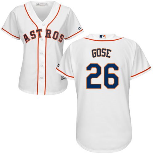 Women's Majestic Houston Astros #26 Anthony Gose Authentic White Home Cool Base MLB Jersey