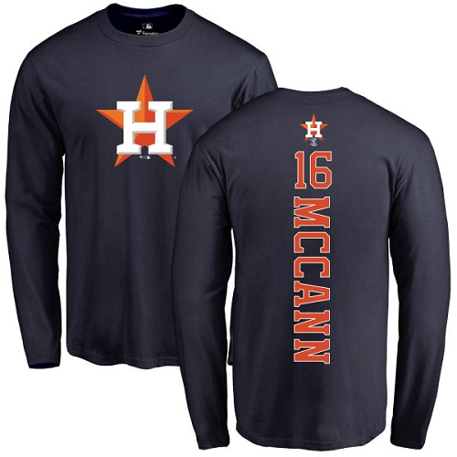 MLB Nike Houston Astros #16 Brian McCann Navy Blue Backer Long Sleeve T-Shirt