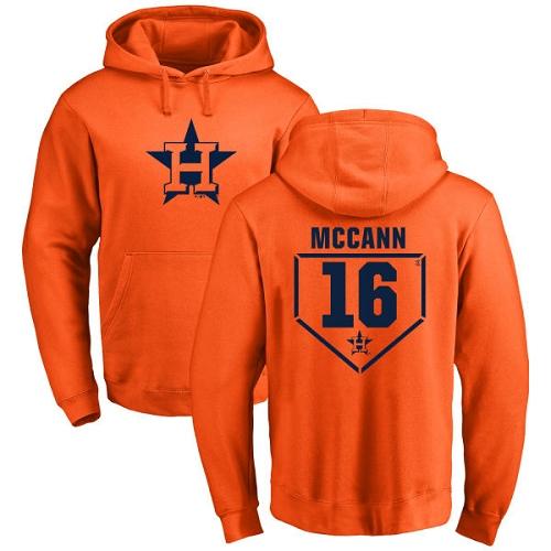 MLB Nike Houston Astros #16 Brian McCann Orange RBI Pullover Hoodie