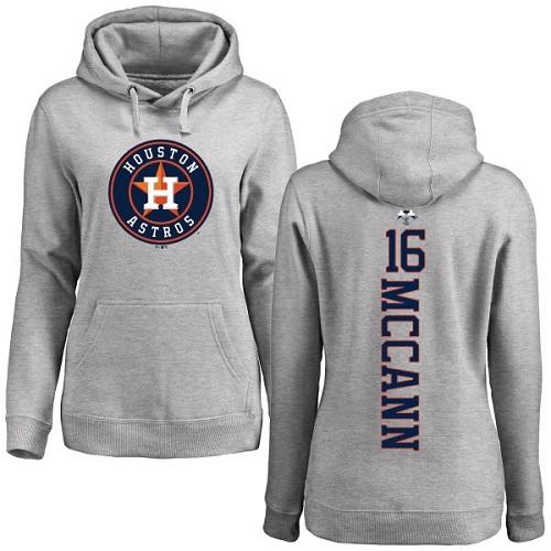 MLB Women's Nike Houston Astros #16 Brian McCann Ash Backer Pullover Hoodie