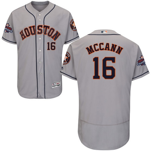 Men's Majestic Houston Astros #16 Brian McCann Authentic Grey Road 2017 World Series Champions Flex Base MLB Jersey