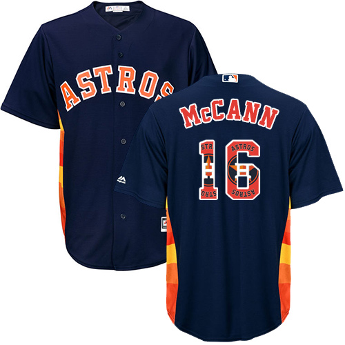Men's Majestic Houston Astros #16 Brian McCann Authentic Navy Blue Team Logo Fashion Cool Base MLB Jersey