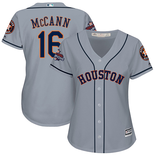Women's Majestic Houston Astros #16 Brian McCann Authentic Grey Road 2017 World Series Champions Cool Base MLB Jersey
