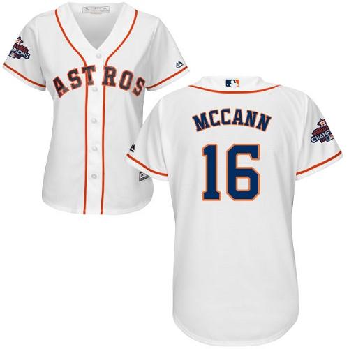 Women's Majestic Houston Astros #16 Brian McCann Replica White Home 2017 World Series Champions Cool Base MLB Jersey