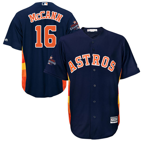 Youth Majestic Houston Astros #16 Brian McCann Authentic Navy Blue Alternate 2017 World Series Champions Cool Base MLB Jersey