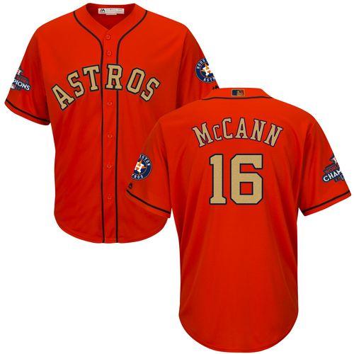 Youth Majestic Houston Astros #16 Brian McCann Authentic Orange Alternate 2018 Gold Program Cool Base MLB Jersey