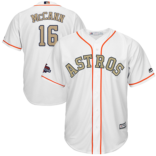 Youth Majestic Houston Astros #16 Brian McCann Authentic White 2018 Gold Program Cool Base MLB Jersey