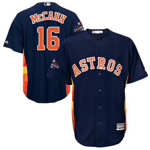 Youth Majestic Houston Astros #16 Brian McCann Replica Navy Blue Alternate 2017 World Series Champions Cool Base MLB Jersey