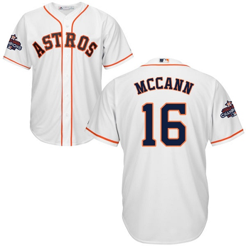Youth Majestic Houston Astros #16 Brian McCann Replica White Home 2017 World Series Champions Cool Base MLB Jersey
