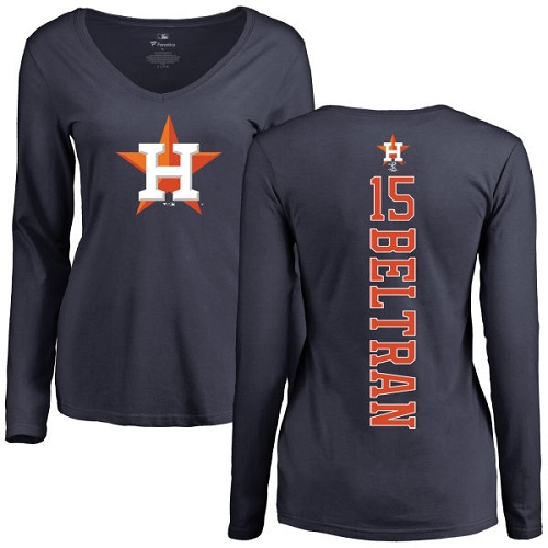 MLB Women's Nike Houston Astros #15 Carlos Beltran Navy Blue Backer Long Sleeve T-Shirt