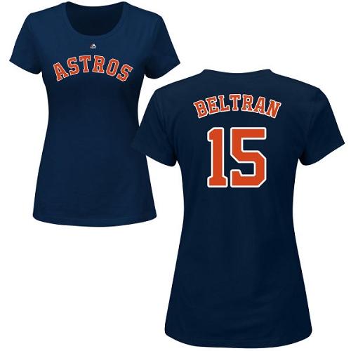 MLB Women's Nike Houston Astros #15 Carlos Beltran Navy Blue Name & Number T-Shirt