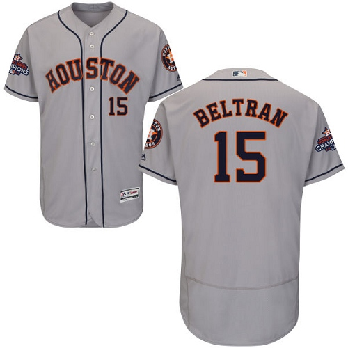 Men's Majestic Houston Astros #15 Carlos Beltran Authentic Grey Road 2017 World Series Champions Flex Base MLB Jersey