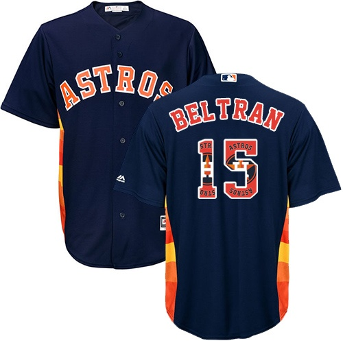Men's Majestic Houston Astros #15 Carlos Beltran Authentic Navy Blue Team Logo Fashion Cool Base MLB Jersey