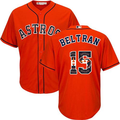 Men's Majestic Houston Astros #15 Carlos Beltran Authentic Orange Team Logo Fashion Cool Base MLB Jersey
