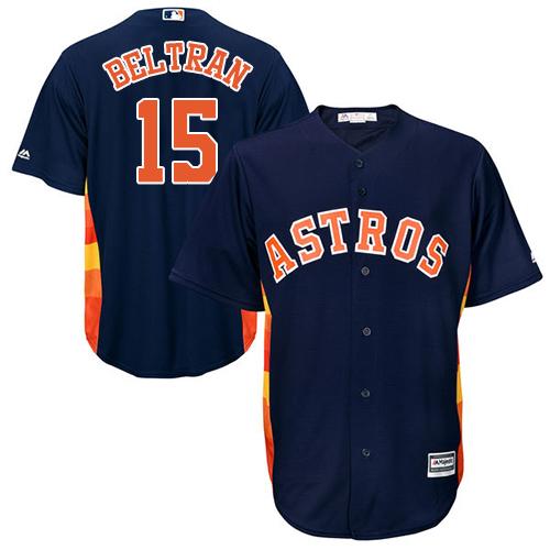 Men's Majestic Houston Astros #15 Carlos Beltran Replica Navy Blue Alternate Cool Base MLB Jersey
