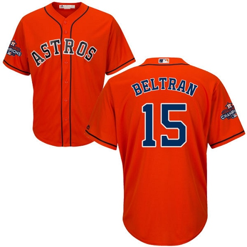 Men's Majestic Houston Astros #15 Carlos Beltran Replica Orange Alternate 2017 World Series Champions Cool Base MLB Jersey