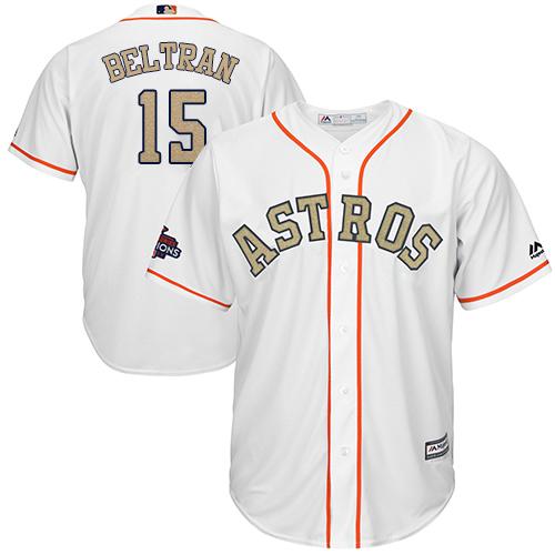 Men's Majestic Houston Astros #15 Carlos Beltran Replica White 2018 Gold Program Cool Base MLB Jersey