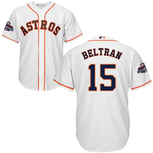 Men's Majestic Houston Astros #15 Carlos Beltran Replica White Home 2017 World Series Champions Cool Base MLB Jersey