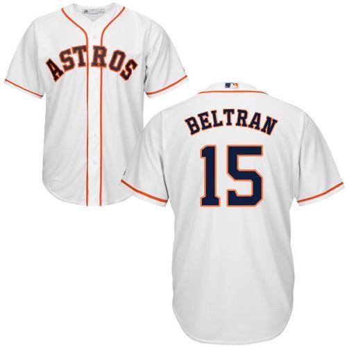 Men's Majestic Houston Astros #15 Carlos Beltran Replica White Home Cool Base MLB Jersey