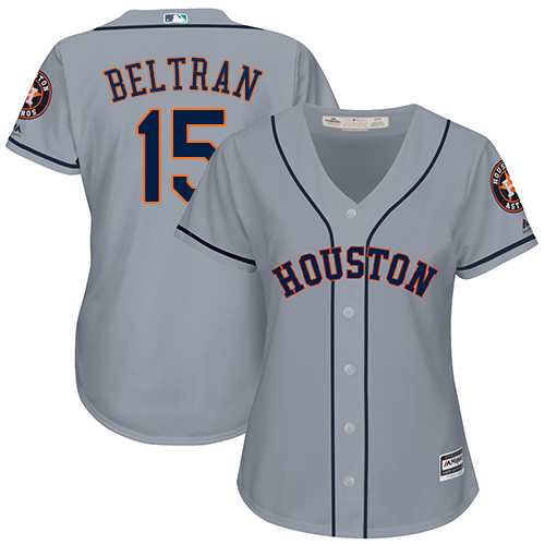 Women's Majestic Houston Astros #15 Carlos Beltran Authentic Grey Road Cool Base MLB Jersey