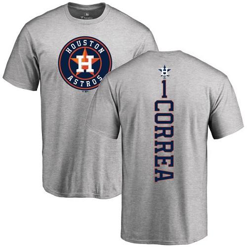 MLB Nike Houston Astros #1 Carlos Correa Ash Backer T-Shirt