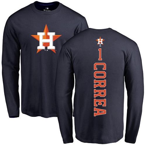 MLB Nike Houston Astros #1 Carlos Correa Navy Blue Backer Long Sleeve T-Shirt