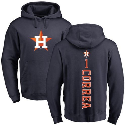 MLB Nike Houston Astros #1 Carlos Correa Navy Blue Backer Pullover Hoodie