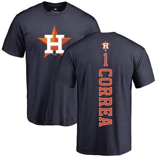 MLB Nike Houston Astros #1 Carlos Correa Navy Blue Backer T-Shirt