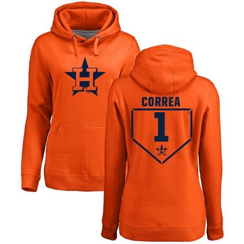 MLB Women's Nike Houston Astros #1 Carlos Correa Orange RBI Pullover Hoodie