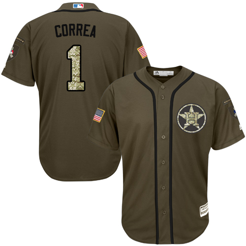 Men's Majestic Houston Astros #1 Carlos Correa Authentic Green Salute to Service MLB Jersey
