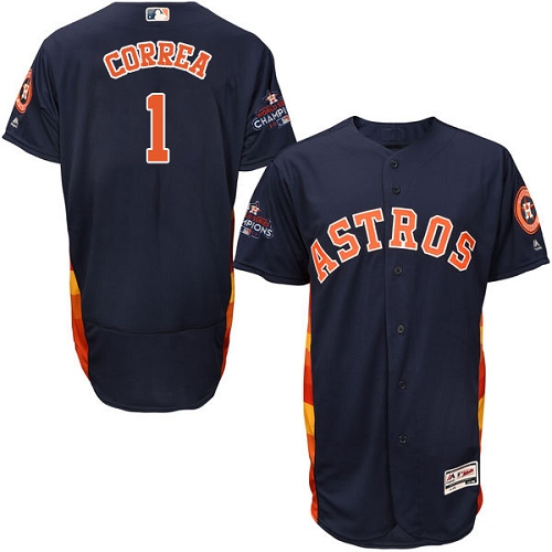 Men's Majestic Houston Astros #1 Carlos Correa Authentic Navy Blue Alternate 2017 World Series Champions Flex Base MLB Jersey