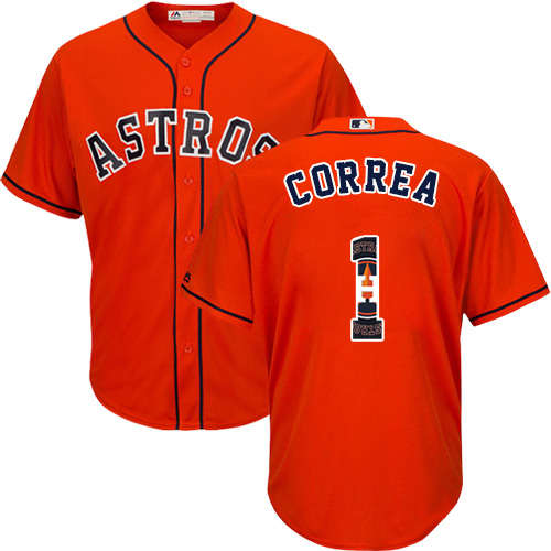 Men's Majestic Houston Astros #1 Carlos Correa Authentic Orange Team Logo Fashion Cool Base MLB Jersey