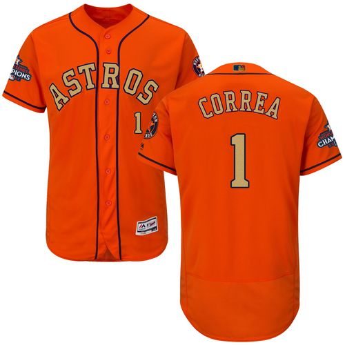 Men's Majestic Houston Astros #1 Carlos Correa Orange Alternate 2018 Gold Program Flex Base Authentic Collection MLB Jersey