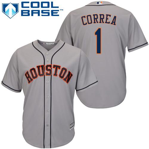 Men's Majestic Houston Astros #1 Carlos Correa Replica Grey Road Cool Base MLB Jersey