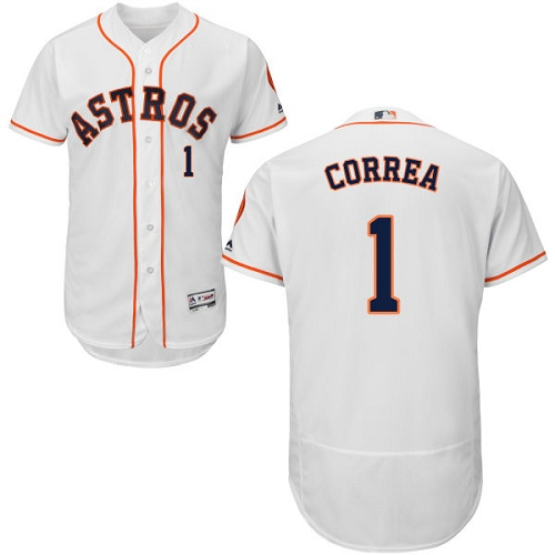 Men's Majestic Houston Astros #1 Carlos Correa White Home Flex Base Authentic Collection MLB Jersey