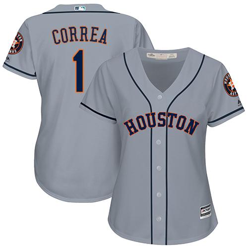 Women's Majestic Houston Astros #1 Carlos Correa Authentic Grey Road Cool Base MLB Jersey