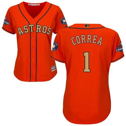 Women's Majestic Houston Astros #1 Carlos Correa Authentic Orange Alternate 2018 Gold Program Cool Base MLB Jersey
