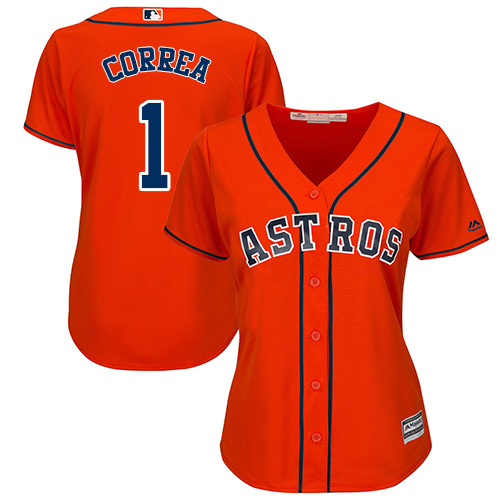 Women's Majestic Houston Astros #1 Carlos Correa Authentic Orange Alternate Cool Base MLB Jersey