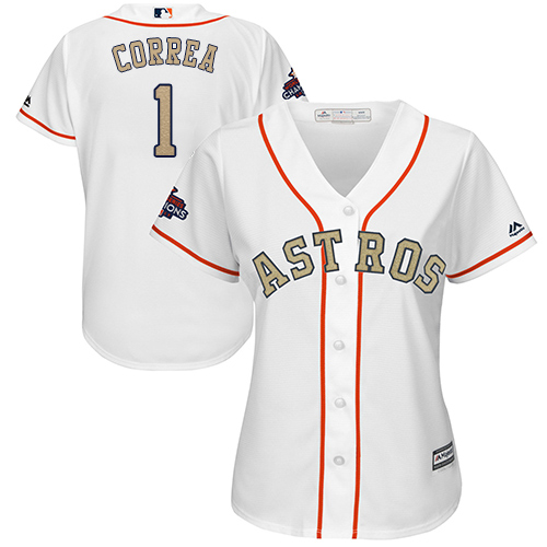 Women's Majestic Houston Astros #1 Carlos Correa Authentic White 2018 Gold Program Cool Base MLB Jersey