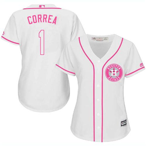 Women's Majestic Houston Astros #1 Carlos Correa Authentic White Fashion Cool Base MLB Jersey